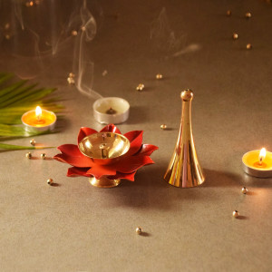 Brass Diya and Bell Set
